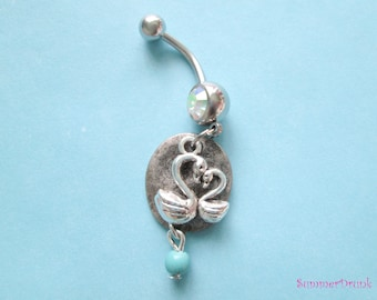Swans belly button ring , Dangle belly button ring.Navel ring, Belly button Jewelry, Belly button piercing,Boho belly ring