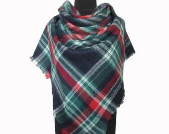 Blue Blanket Scarf, Christmas Gifts for Mom, Plaid Scarf, Blue Tartan Scarf, Checkered Shawl, Autumn Scarf, Wrap Shawl, Plaid Fall Scarf
