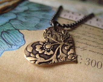 Heart Necklace, Mixed Metals, Sterling Silver, Pure Brass, Oxidized Heart, Hand Stamped Design, Oxidized Chain, candies64