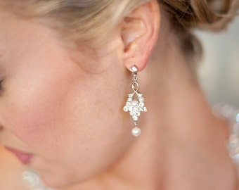Art Deco Wedding Earrings Small Crystal Bridal Earrings Crystal Pearl  Bridal Earrings Vintage Style Bridal Jewelry SEPTEMBER