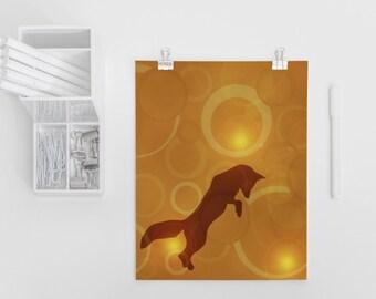 Fox Silhouette Art Print 4x6, 5x7, Fox Decor, Fox Design, Kids Room Decor, Geometric Art, Forest Animal, Wall Art