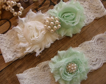 Ivory & Mint Wedding Garter / Garter / Vintage Inspired Lace Garter / Wedding Garter Set