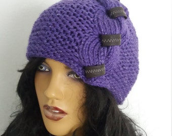 Purple hat-Hand Knit Beanie in Burgundy, Cable Knit Womens Winter Hat with imitation leather-Behind baggy beret