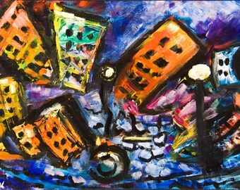 Doomed City original acrylic painting Science fiction art Fantasy painting Expressionist art Cityscape surreal painting Framed painting