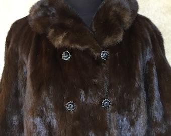 1960s Vintage Luxury Dark Brown Mink Coat Jacket  S M
