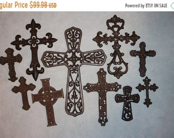 "14% OFF 10) Crosses, Mid-Century Cast Iron Cross Collection, Cast Iron Cross Decor, Old-World Cross Decor,  ""Castile"", Free Shipping ~"