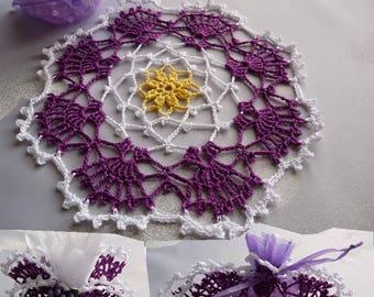 Crochet doily handmade cotton white, purple and yellow.