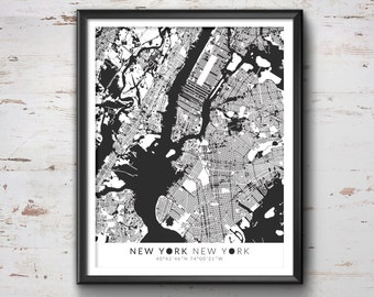 NEW YORK Map with Coordinates, New York Map, Map Art, Map Print, New York Print, New York Art, New York Gift,  New York Decor, New York, NYC