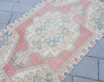 "4'5"" x 7'4"" Oversized center medallion,Vintage Turkish Oushak RUG,Area Rug,Muted-Faded Colors Rug,Turkish Carpet,Vintage Turkish Rug"
