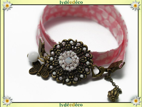 Retro bracelet Pastel print liberty rose flower and Pearl White Japanese Glass Butterfly brass bronze
