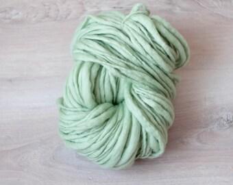 Art yarn merino wool hand spun effect yarn merino wool Slub thick and thin green