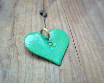 Large Add On Personalized Monogram Heart Charm - Green Patina, Monogram Heart, Custom Initial Heart, Valentines Day. Mothers Day, Birthstone