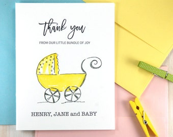 Personalized Baby Stationary, Gifts for Baby Shower, Gender Neutral Baby Gift, Baby Shower Thank You Card, Personalized Stationery Set of 10