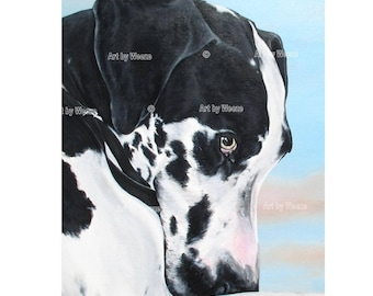 Harlequin Great Dane, Great Dane Art, Great Dane Print, Great Dane Picture, Great Dane Gifts, Great Dane Dog, Pet Portrait, Free Shipping!
