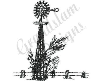 Windmill Outline - Machine Embroidery Design
