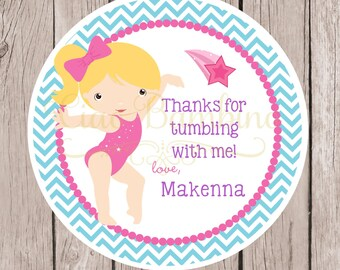Gymnastics Birthday Party Favor Tags or Stickers / Choose Hair & Skin Color / Pink, Purple and Blue / Chevron / Set of 12
