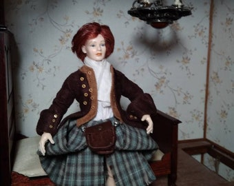 1/12 miniature wearable Outlander Jamie inspired tartan Scotish outfit fits Heidi Ott