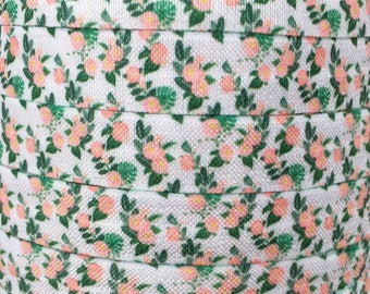 """White with Coral Floral 5/8"""" Fold Over Elastic 1, 3 or 5 yards"""