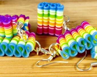 Rainbow ribbon candy polymer clay food jewelry