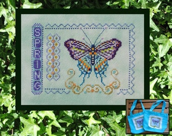 Cross Stitch Instant Download Pattern Spring. Counted Embroidery Chart. Butterfly Sampler X Stitch. Seasonal. Turquoise Graphics & Designs.