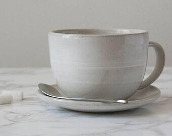 Wheel Thrown Pottery Mug, Tea Cup and Saucer, Ceramic Cappuccino Cup, White Ceramics, Tea Time Set, Wedding Gift, Housewarming Present