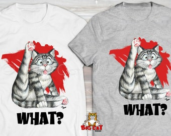 WHAT? Cat T-shirt. Tabby Cat wants to know what you are looking at.  Cat tshirt.  Cat lady shirt.  Cat gift
