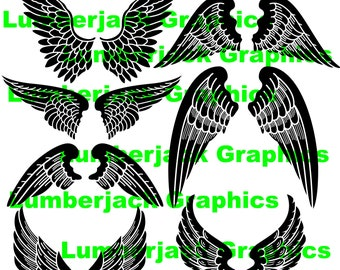 Angel wings clipart .eps digital download graphic design sticker