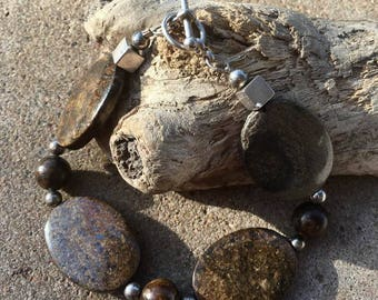 Bronzite and Sterling Bracelet