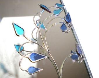 L'hiver reflets - vitrail mur Accent - bleu feuille feuilles miroir Home Decor fil Tenture murale Nature décorative (prêt à l'expédition)