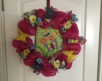 Welcome butterfly wreath