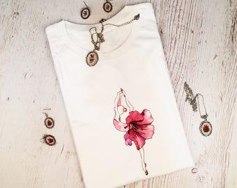 T-shirt women ballerina flowers painting original art print