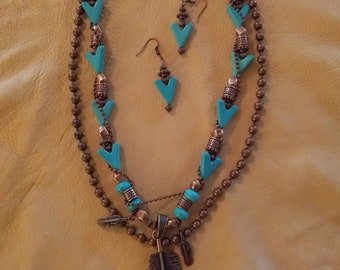 Cowgirl Western Bling Turquoise Southwest Necklace & Earring set