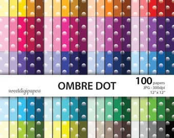 Polka Dots Digital Paper, Ombre Polka Dots, Background, Colorful Scrapbook Paper, Rainbow Scrapbook, Polka Dots Pattern, instant download