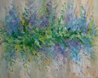 Abstract flowers painting Lilac Large oil canvas Paletteknife