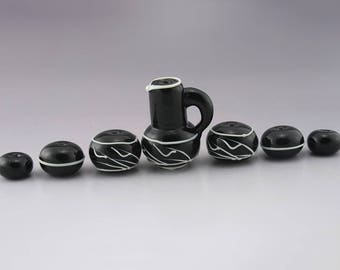 Handmade Lampwork Beads SRA Glass Bead Set Teapot Beads Vessel Glass Bead Focal Black and White Linework Minimalism Heather Behrendt 4164