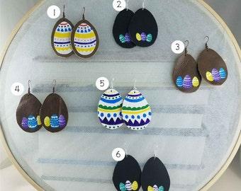 Egg-cellent Easter Egg Leather Painted Earrings