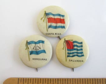 3 Antique Pinback Buttons - Honduras, Costa Rica & Salvador, Vintage Sweet Caporal Cigarette Flag Pins