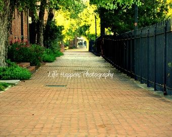 Photography.  Art Print. Historic Marietta, GA.  Brick walkway.