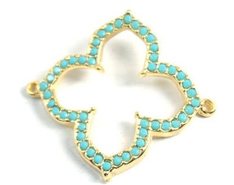 1 pc- Matte Gold Plated Authentic Clover with Turquoise swarovski connector-30x40mm (019-026GP)