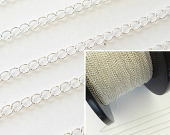 Sterling Silver 4x5m Curb Chain 1Ft 5Ft Jewellery Making