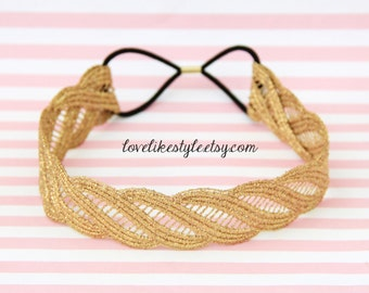 Gold Twisted Lace Elastic Headband, Bridal Headband, Elastic Headband, Boho Headband, Hair Band