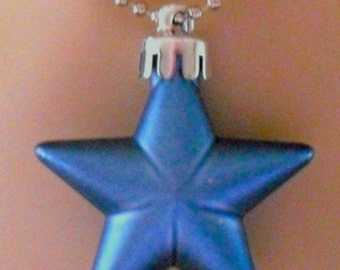 Steel Blue Pearlescent Shining Star Necklace  (Funky Felt Flowers)