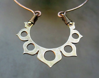 Golden Lotus Flower Necklace, Choker, Hand Fabricated, Metalsmithed, Golden, Ancient Spiritual Symbol, Meditation, Yoga, India