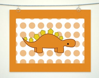Orange Dinosaur Children's Wall Art, Stegosaurus Digital Art Print, Dino with Polka Dot Decor, Spotted Orange and Yellow Nursery Decoration