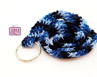 Crochet Retro Zig Zag Woven Lanyard ID Badge Holder, Blue Colour, Crochet Lanyard, Gifts For Her, Gifts For Him, Key FOB, Key Clip Holder