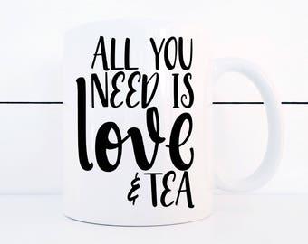 Love and Tea Ceramic 11 ounce Mug Treat Yo-Self for Valentine's Day/ Galentine's Day