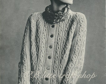 Woman's aran jacket knitting pattern. Instant PDF download!