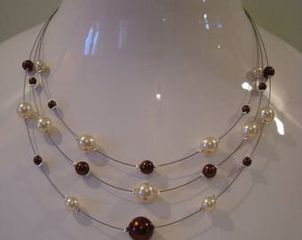 Dijon Brown and Ivory Pearl Necklace