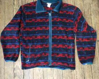 Vintage Fleece LL Bean Zip Up Aztec Pattern