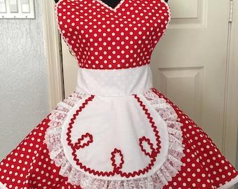 I Love Lucy Apron/Costume, Lucy Apron, Present Apron, Retro Apron, Circle Apron, Red Polka Dots